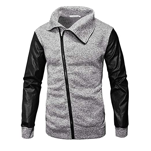 ZODOF Chaqueta de Hombres Casual otoño Invierno Cremallera de Cuero Patchwork Outwear Tops Blusa de la Capa M-3XL: Amazon.es: Ropa y accesorios