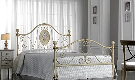 Letti In Ferro Battuto Bianco : Nuovarredo letto matrimoniale rombo in ferro battuto bianco oro
