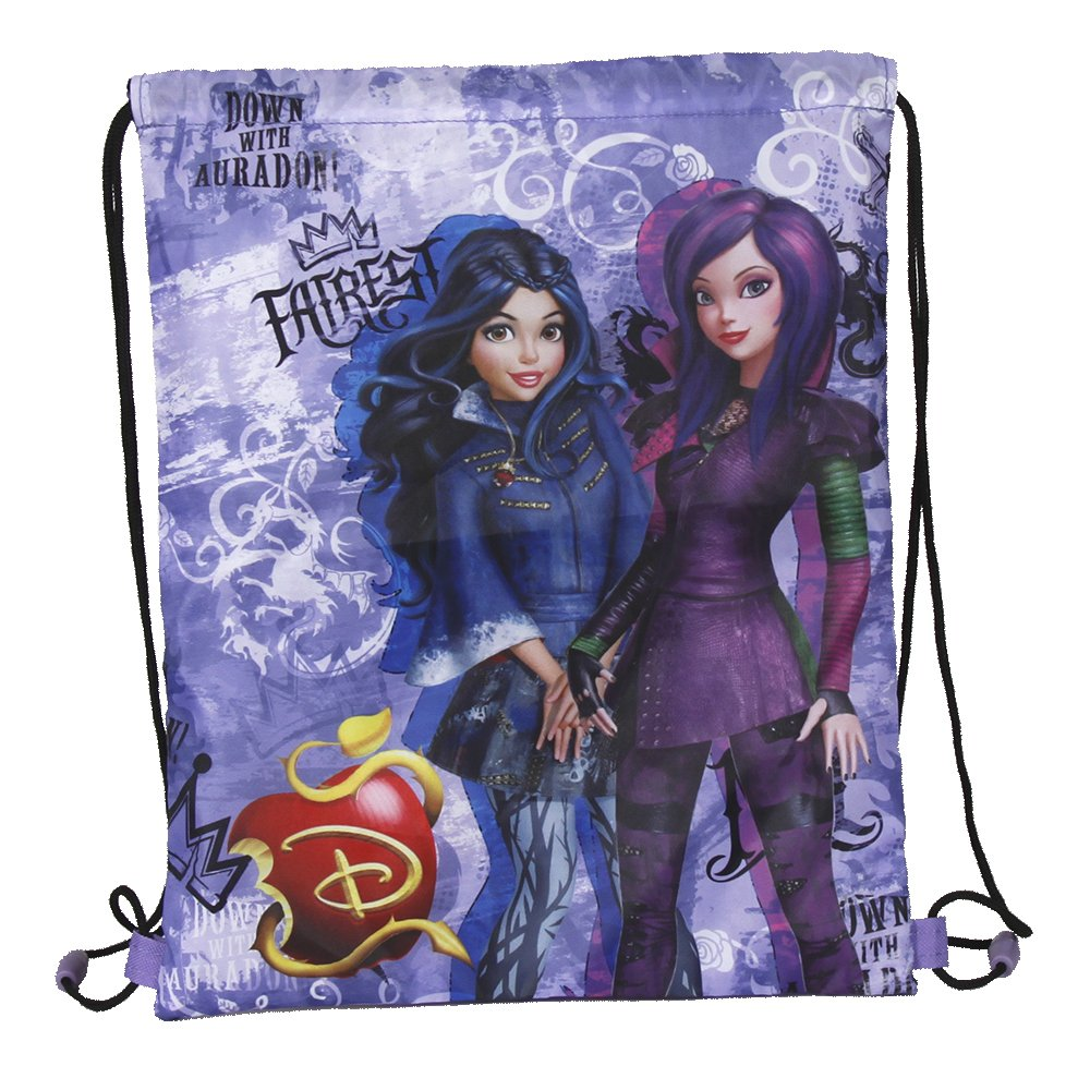 PERLETTI Disney Descendants Drawstring Sac for Girls - Children Swim Gym Bag Waterproof with Mal and Evie - Training Shoe Bag ideal for Travel and Sport - Purple - 39x31 cm 13736
