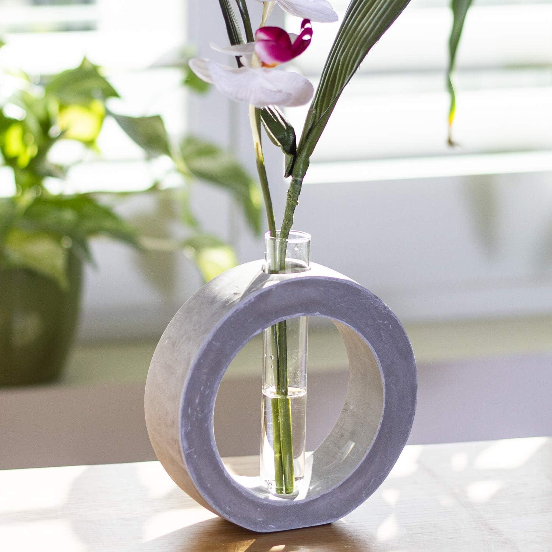 Frank Lloyd Wright Design Inspired Polished Concrete Organic Element Basic Shape Glass Vase Tube Flower Bud Vase Home Decorative Accent Wedding Centerpiece Hotel Office Home Decor (Large Circle)
