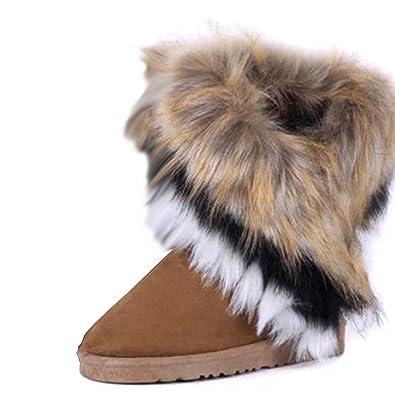 13e8ded4b2 Gaorui Faux Rabbit Pelz Gefüttert Stiefeletten Winterstiefel Schneestiefel  für Damen Mädchen: Amazon.de: Schuhe & Handtaschen