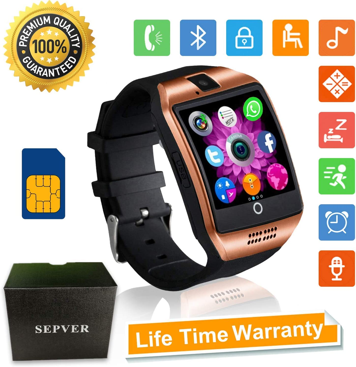 Smart Watches SN06 Bluetooth Smart watch with SIM Card Slot Camera Fitness Tracker Pedometer Sports Wrist Watch for Men Women Kids Compatible with