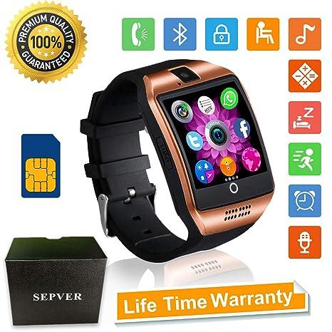 SEPVER Relojes Inteligente Smartwatch con Pantalla Táctil Soporte para Cámara Tarjeta SIM para Samsung LG HTC