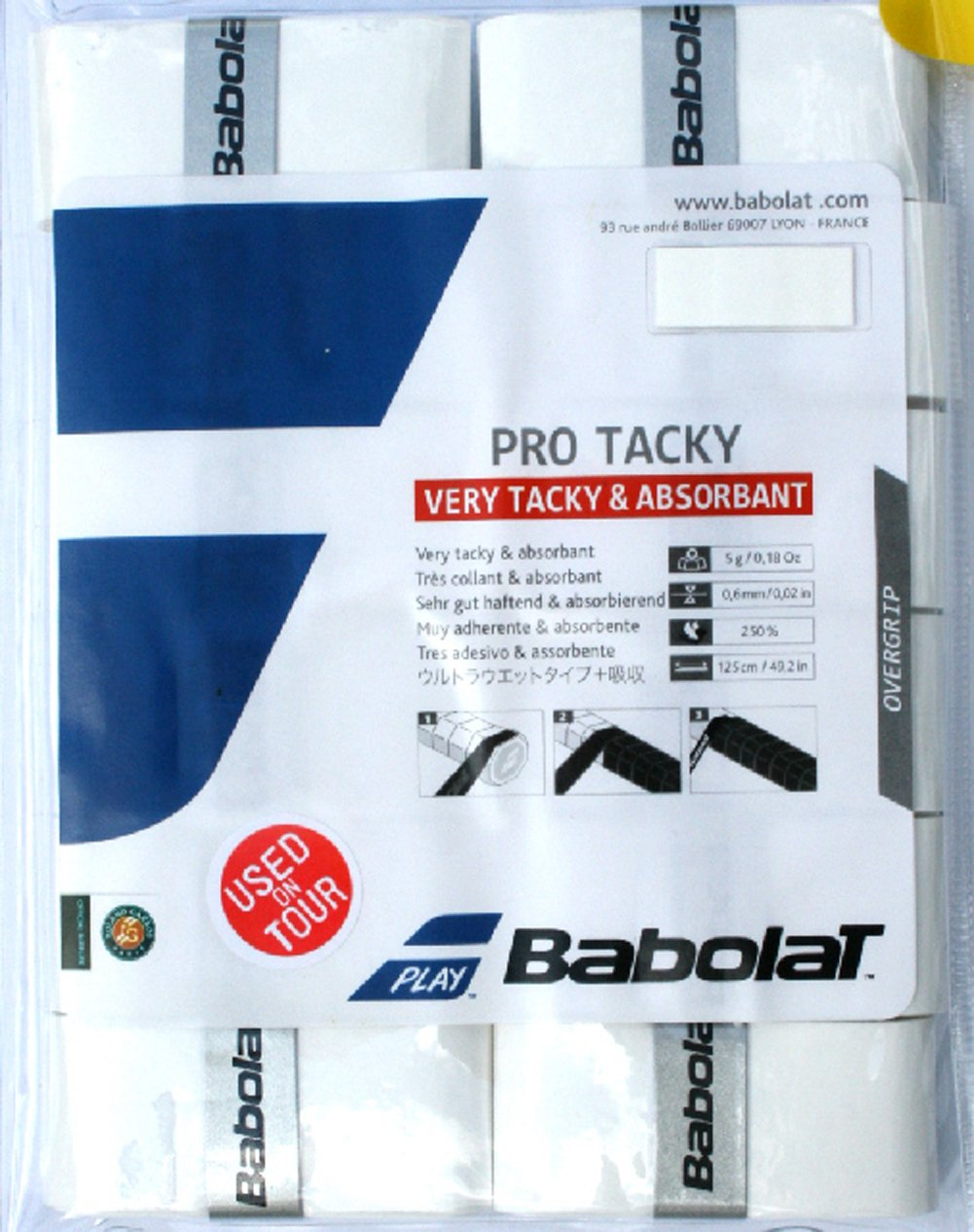 Babolat Pro Tacky Tennis Overgrip 12 Pack White Very Tacky Absorbant