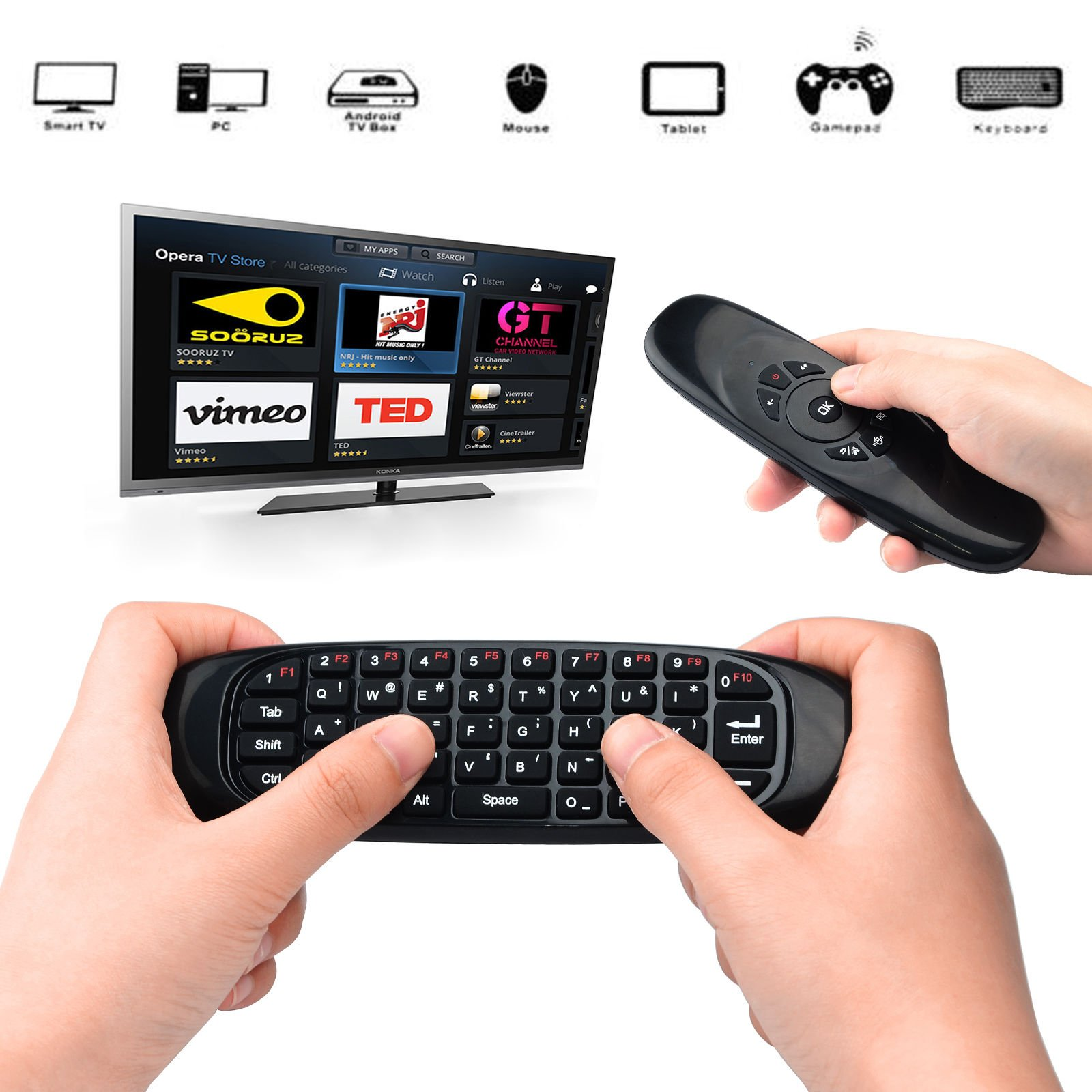 Yesea Air Mouse USB Universal Remote Control 2.4Ghz Wireless Mini Keyboard 3-Axis Gyroscope USB Remote Control for PC HTPC IPTV Android Tv Box Media Player