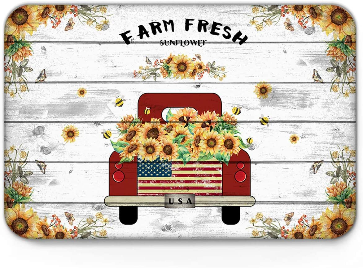 Indoor Doormat Front Door Mat 20 x 31.5 , Farm Fresh Sunflower Red Truck And Bees Retro Wood Board Absorbent Entrance Rug, Non Slip Bathmat, Dirt Trapper Entry Rugs Machine Washable Welcome Carpet