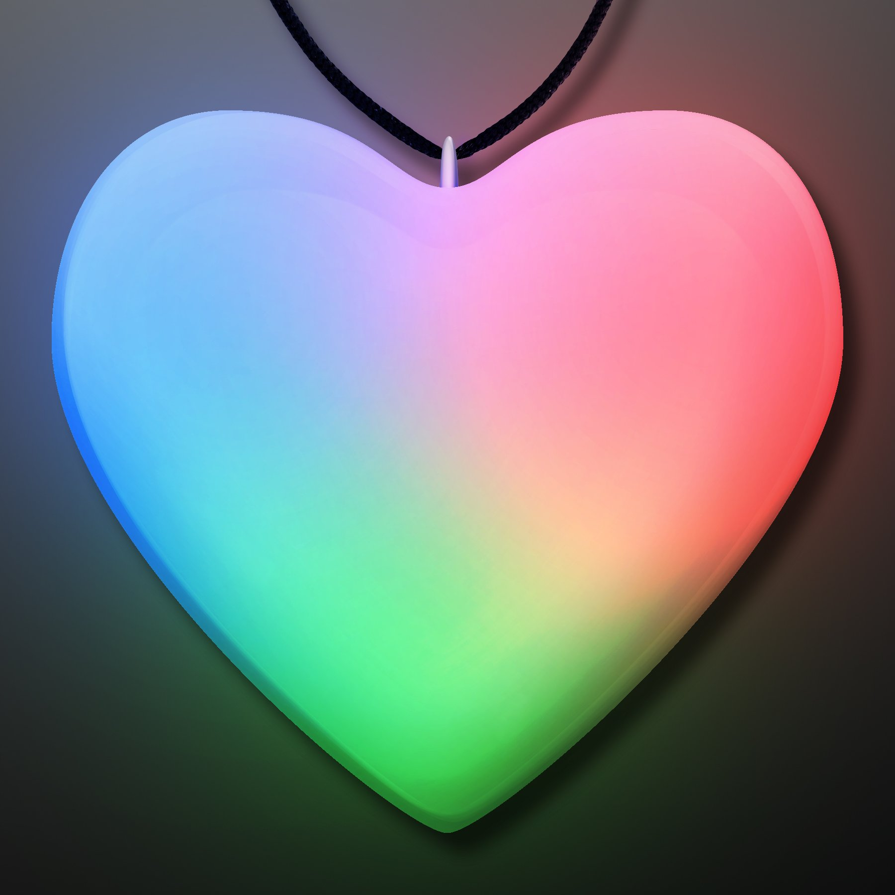 FlashingBlinkyLights Aurora Slow Color Changing LED Heart Shaped Necklace (Set of 25)