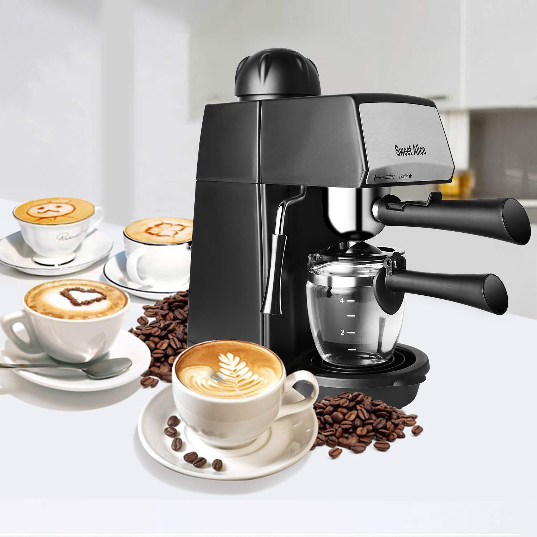 Sweet Alice Cafetera, 5 barras Cafeteras Italianas, Espresso Cafetera de 240 ml, Máquina de Café Automáticas Perilla única con Boquilla de Espuma de ...