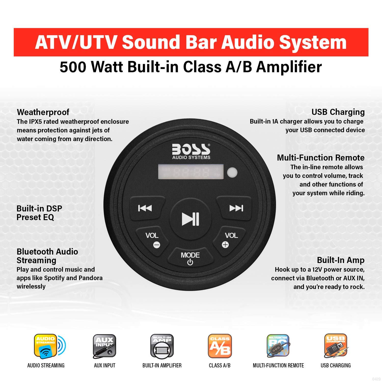Bluetooth Audio Streaming for ATV//UTV Audio Sound System Soundbar Weather-Proof