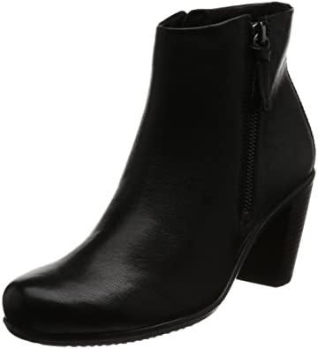 Womens Boots ECCO Touch 75 Mid Cut Bootie Black/Black