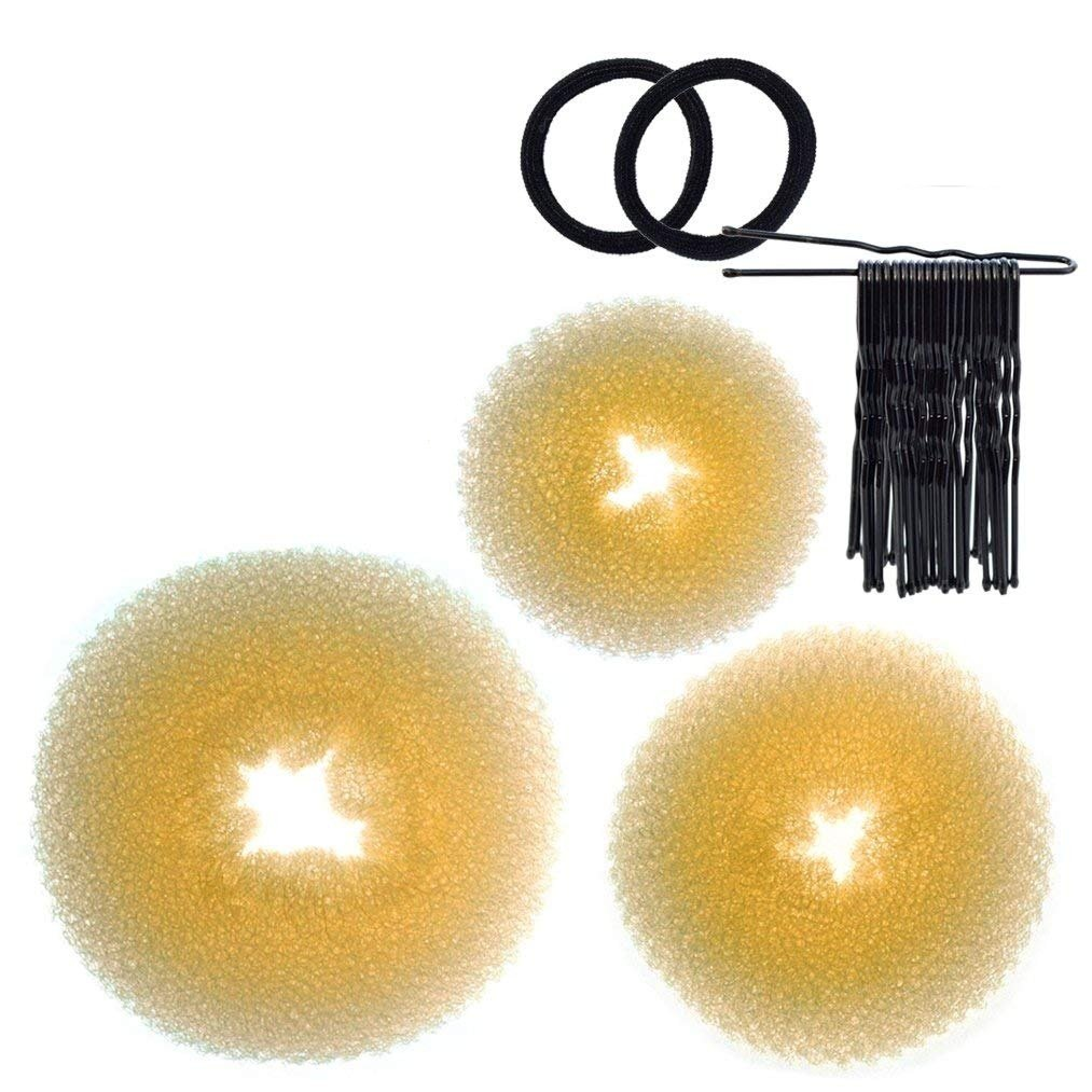baotongle 3 Pieces Donut Bun Maker Hair Bun Maker Ring Style Bun Maker Set for Chignon Hair Includes Large, Medium and Small (Blonde)