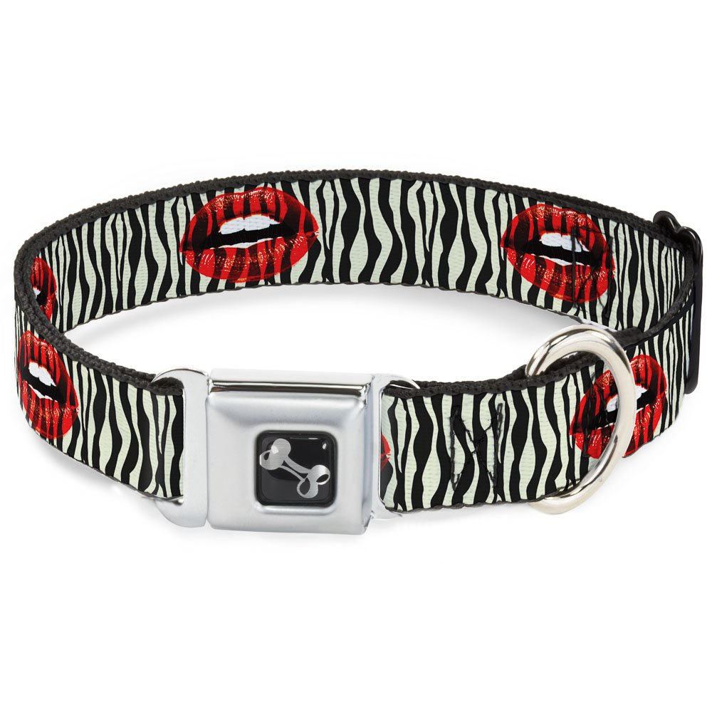 Buckle-Down Seatbelt Buckle Dog Collar Mouth Zebra 1.5  Wide Fits 13-18  Neck Small