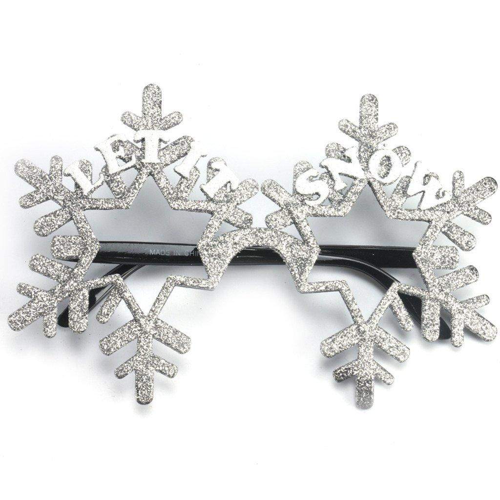 Novelty Glittered Christmas Decoration Fanci-Frames Party Accessory Grey Snowflake Eyeglasses