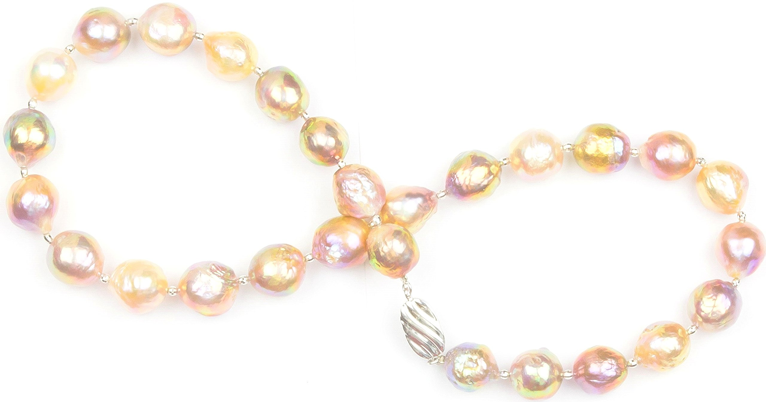 HinsonGayle AAA GEM 12-13mm Rainbow Fireball Baroque Freshwater Cultured Pearl Necklace Silver