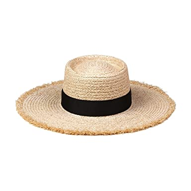 Lack of Color Women s Ventura Raffia Straw Wide-Brimmed Boater Hat  (Natural fa7ec73ef83