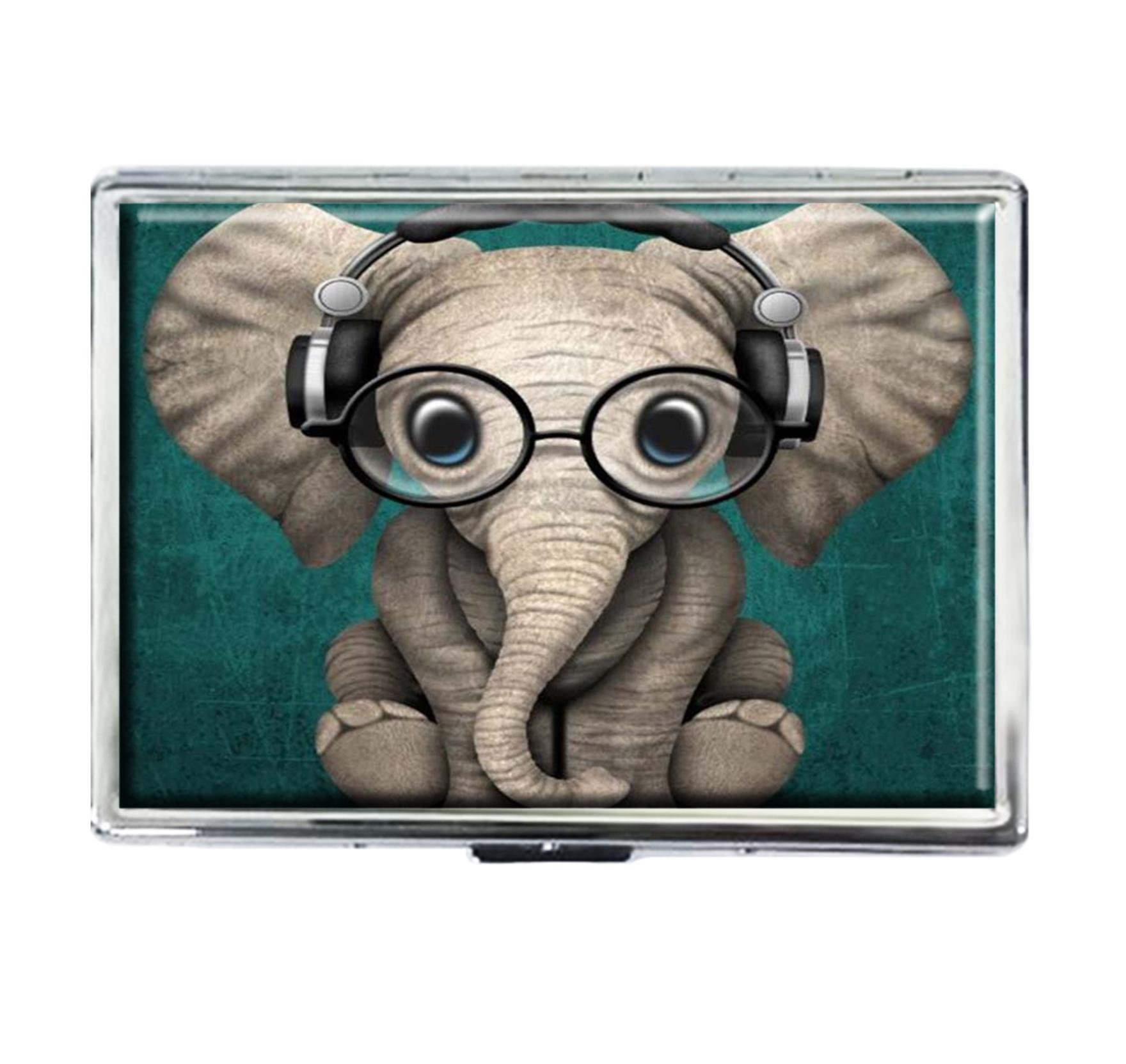 Cigarette Case Storage Case Box Stylish Credit Business Card Holder Case Box Unique Stainless Steel Silver (Cute Baby Elephant)
