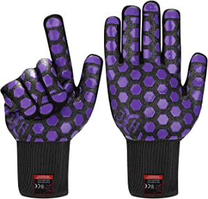 JH Heat Resistant Oven Glove:EN407 Certified 932 °F, 2 Layers Silicone Coating, Black Shell with Purple Coating, BBQ & Oven Mitts For Cooking, Kitchen, Fireplace, Grilling, 1 Pair, Regular Cuff