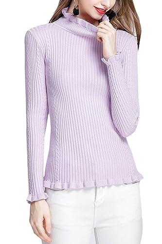 La Mujer Elegante De Manga Larga Con Volantes Blusa De Punto Jersey Monocolor Elastico Patchwork