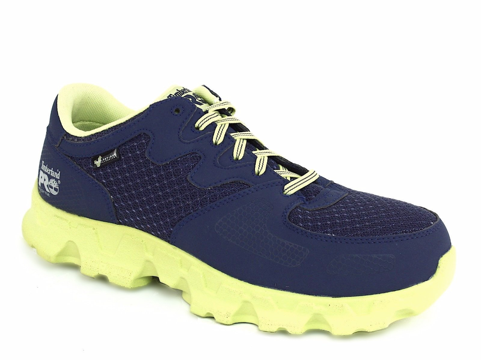 Timberland PRO Men's Powertrain Alloy Toe EH Industrial Shoe,Navy/High Vis Green Microfiber And Textile,9.5 M US