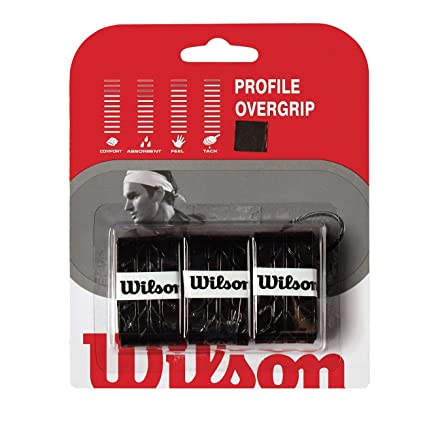WILSON WRZ4025BK Profile Overgrip, Color Negro 3 Unidades, Adultos Unisex, Units, TU