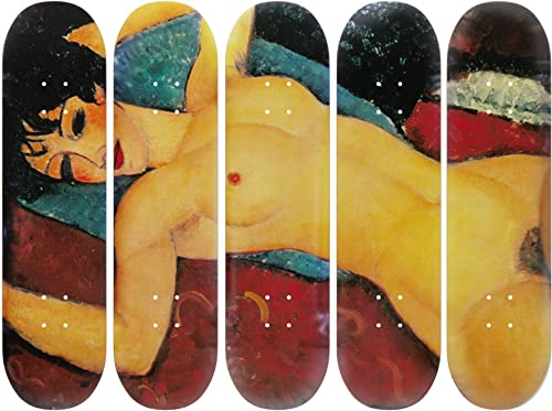 Musart Wood Skateboard 5 Decks Wall Art Wall Decor Amedeo Modigliani Nu Couch Reclining Nude 1917-1918 Limited Edition of 100 32 H x 8 L x 0.5 W Inches