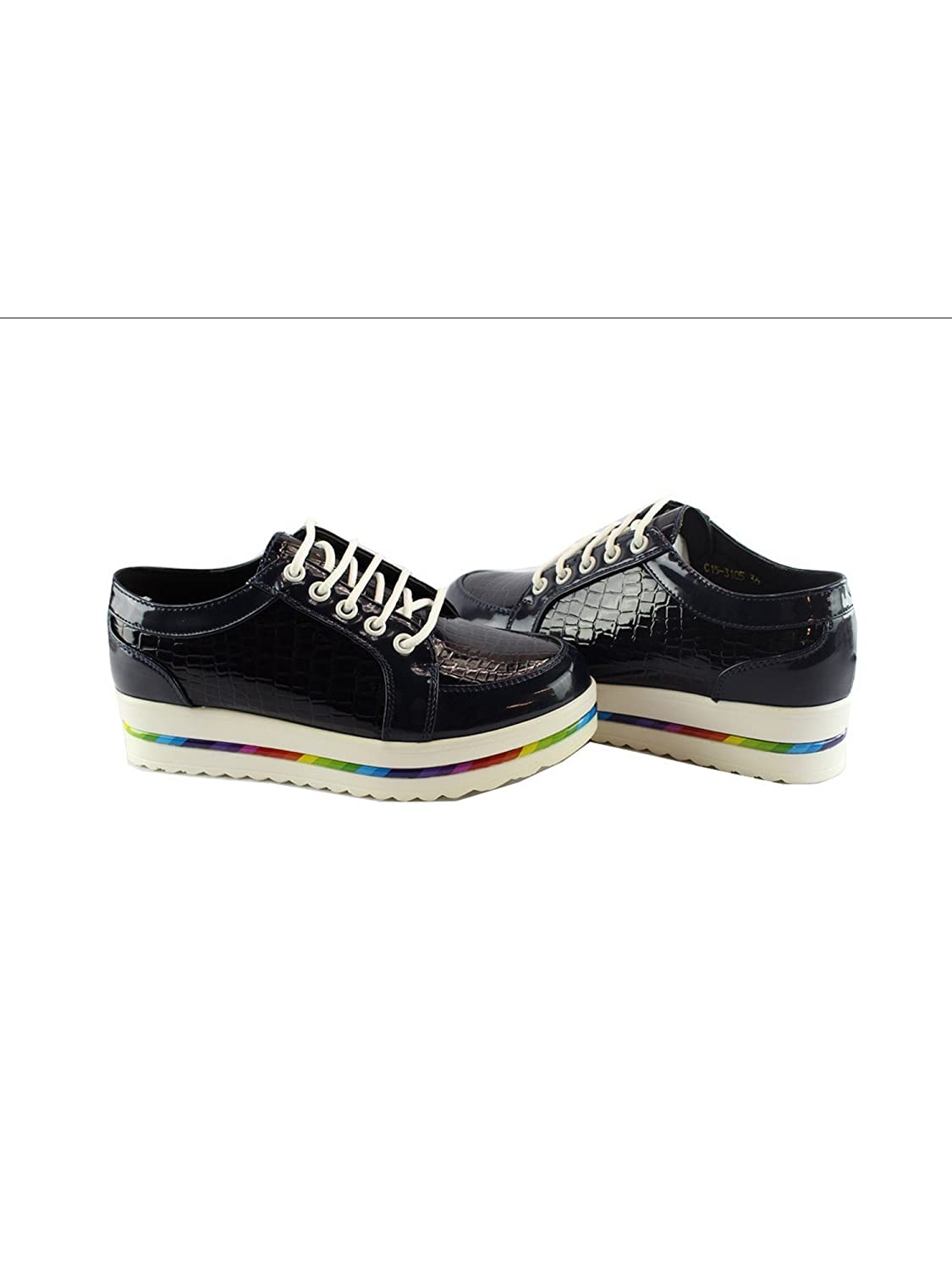 Liyu Adult Blue Lace-Up Panels Multi Color Band Sneakers 6-11 Women
