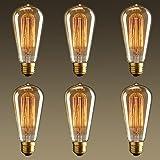NEW 6 Pack - Modvera 60w Edison Bulb Antique Bulb Vintage Style ST64 2200K Warm White E26 Base Dimmable 370 lumens
