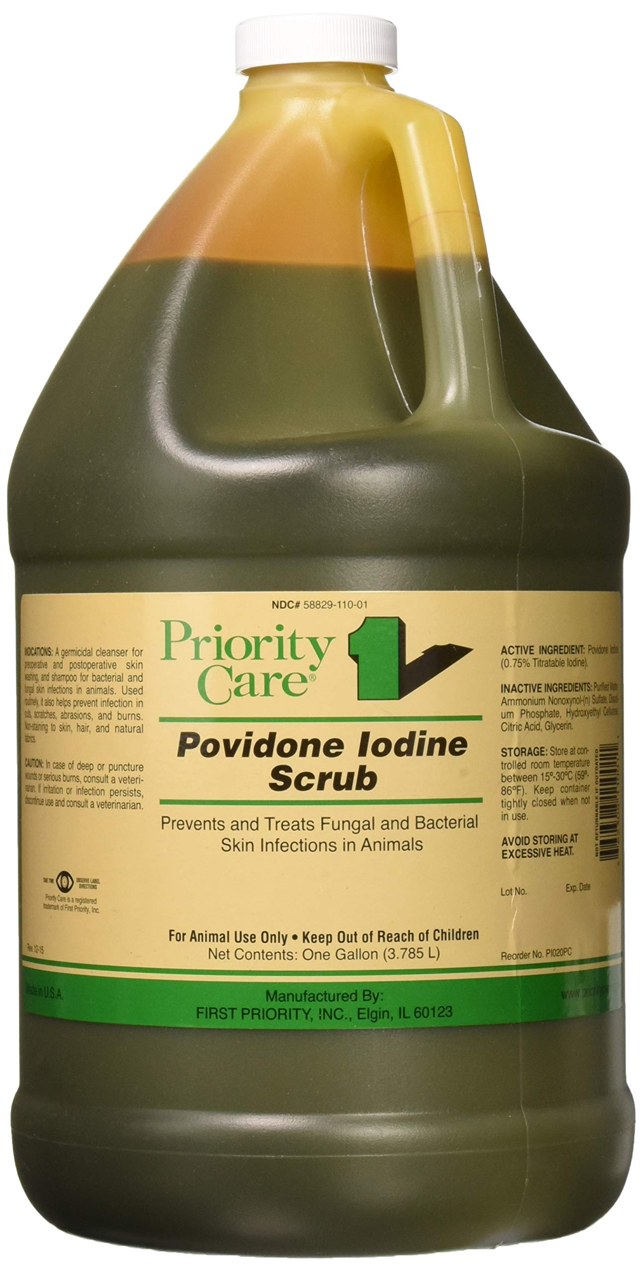 First Priority Povidone Iodine Surgical Scrub, 1 Gallon (3.785 Liters) by First Priority