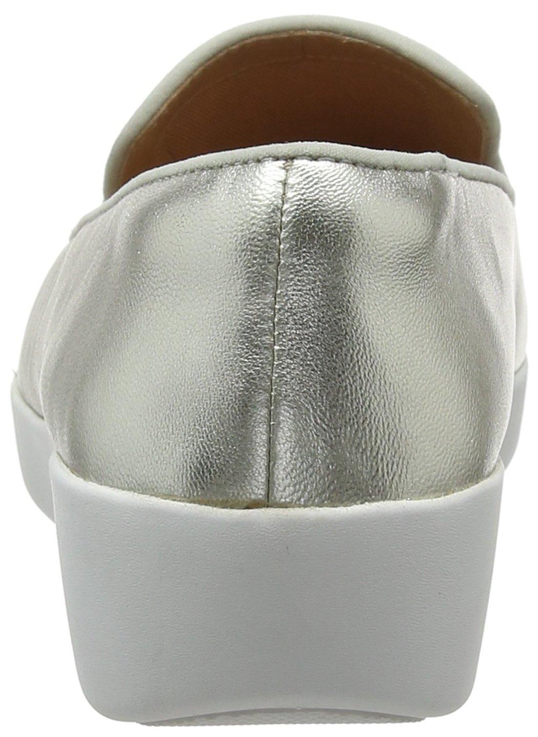 FitFlop Damen Slipper Audrey Metallic Smoking Slippers Slipper Damen Silber (Silver 011) aa35c0