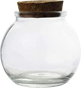 Clear Glass Bottle With Cork Stopper Assorted Shapes Bud Vases Jars Message Wish Bottle 1 Piece (Round Ball)