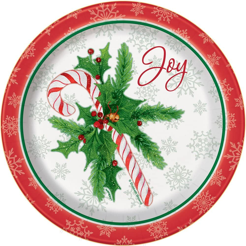 Amazon Com Candy Cane Christmas Dessert Plates 8ct Kitchen Dining