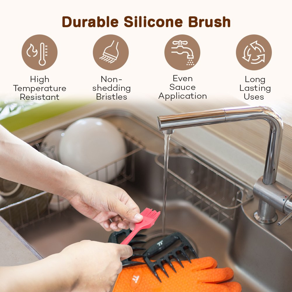 BBQ Gloves Heat Resistant, TaoTronics Meat Shredder Silicone and BBQ Brush, Grill Accessories, Perfect for Shredding Smoked Meat & Pulled Pork, Dishwasher Safe, FDA Approved by TaoTronics (Image #5)