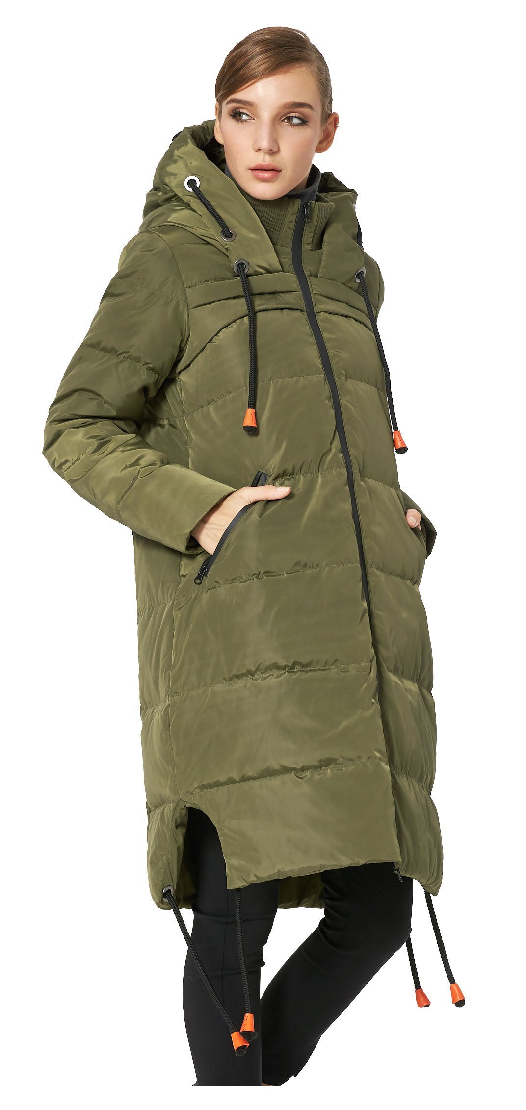 Orolay Women's Thickened Contrast Color Drawstring Down Jacket Hooded ArmyGreen S by Orolay (Image #5)