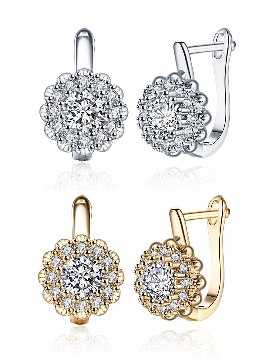 18K White Gold/Champagne Gold Plated Flower Cubic Zirconia Small Hoop Earrings for Women Teen Girls Hypoallergenic CZ Studs For Sensitive Ears (2 Pairs)