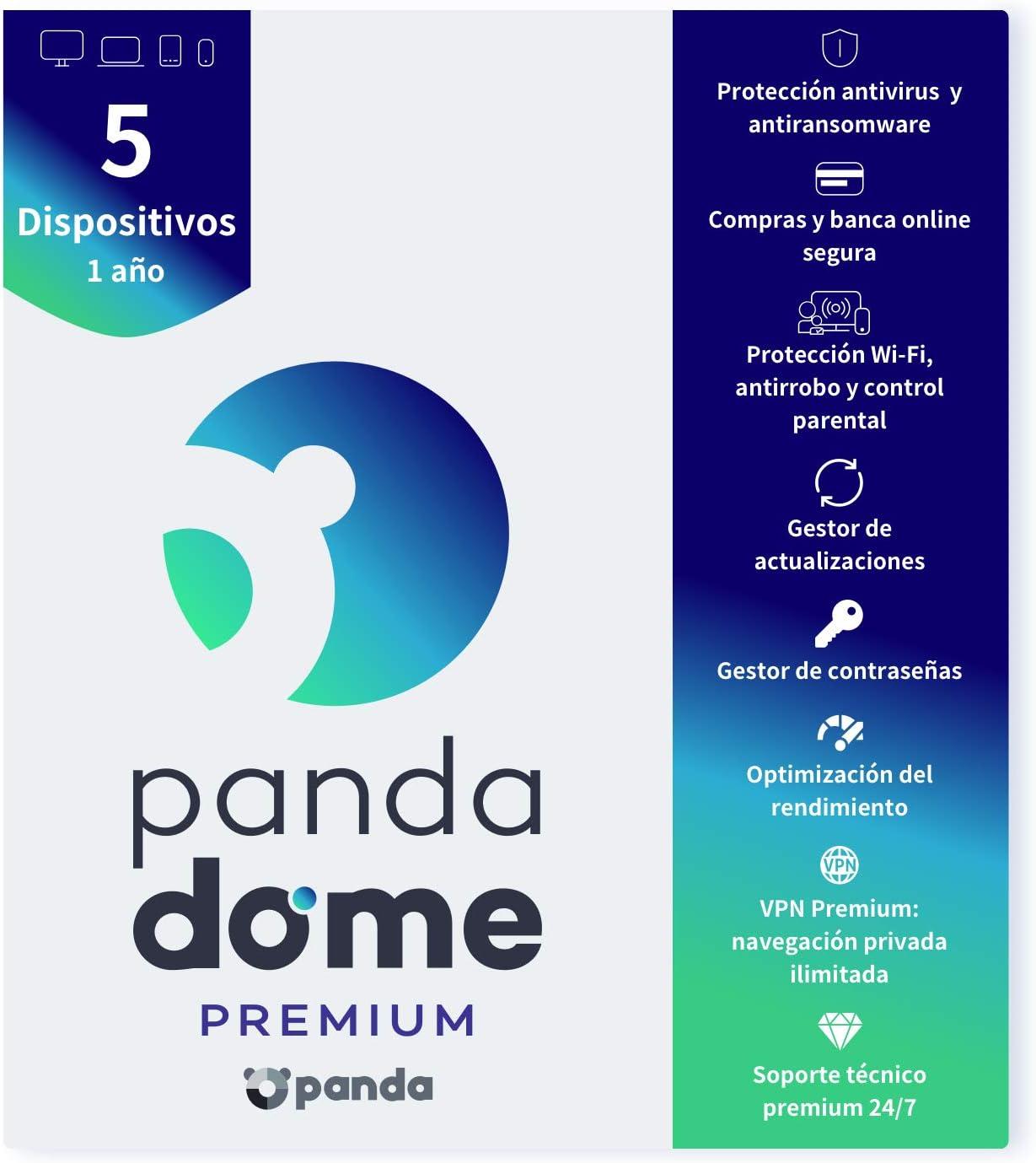 Panda Dome Premium 2021 – Software Antivirus | 5 Dispositivos | 1 año | VPN Premium | Soporte Técnico 24/7 | Antiransomware | Gestor de Contraseñas | Protección Wifi y Antirrobo | Control Parental