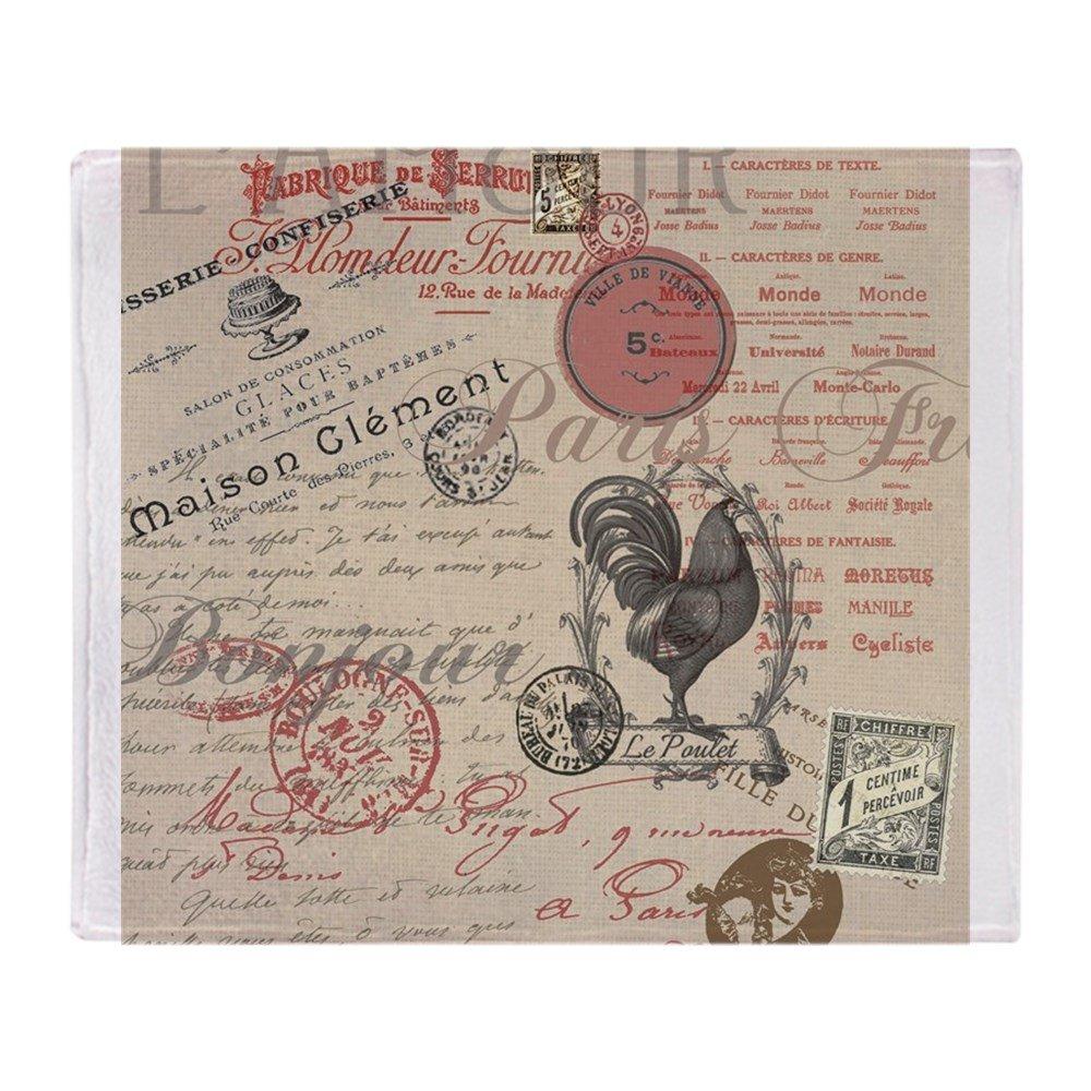 CafePress - Vintage francés París gallo manta Bla - Manta de ...