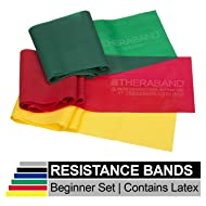 TheraBand Resistance Band Set, Professional Elastic Bands for Upper & Lower Body, Core Exercise, Physical Therapy, Lower Pilates, at-Home Workouts, Rehab, 5 Foot, Yellow, Red & Green, Beginner