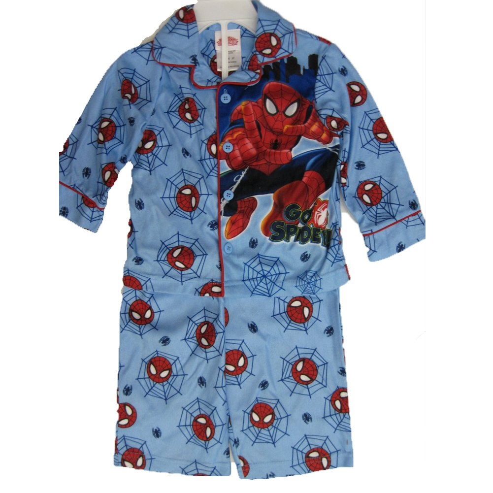 Spiderman Little Boys Sky Blue Go Spidey Cartoon Inspired 2 Pc Pajama Set 4T