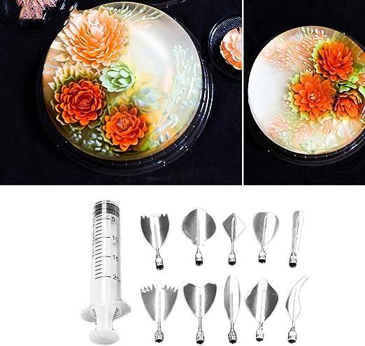 Stainless Steel 3D Jelly Cake Needle Tips DIY Gelatin Art Flower Needles Baking Pastry Tool with Syringe Jello Cake Stainless Steel Tips Tools