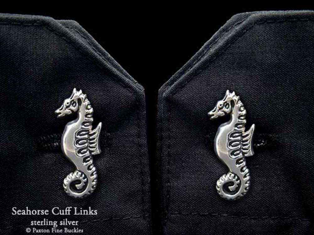 Seahorse Cuff Links in Solid Sterling Silver Hand Carved & Cast by Paxton