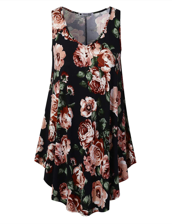 URBANCLEO Womens Floral Vneck Sleeveless Tunic