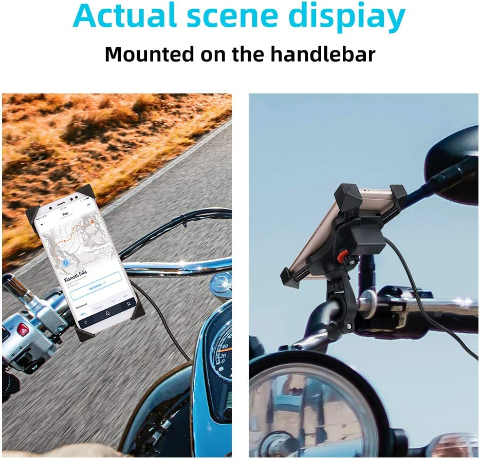 kemimoto 3-Straps Bike Water Bottle Holder and Bicycle Phone Mount Kit 360/° Rotation Bike Phone Holder Universal for iPhone Android GPS Other Devices Between 3.5 to 7 inches