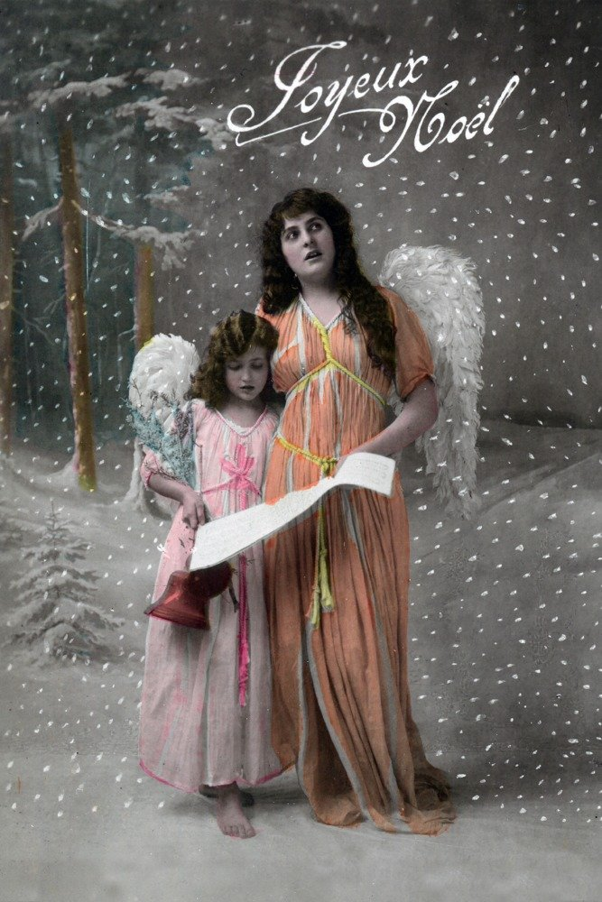 Joyeux Noel – Merry Christmasフランス語で、Little Girl Carols with Angel 12 x 18 Art Print LANT-31434-12x18 B00QPZ1GP2 12 x 18 Art Print