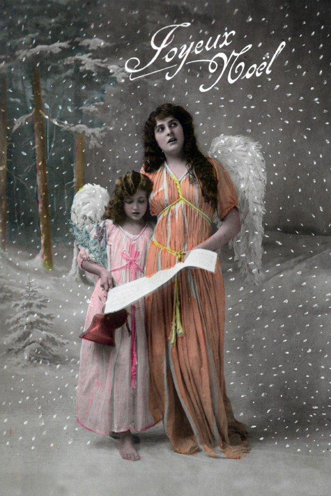 Joyeux Noel – Merry Christmasフランス語で、Little Girl Carols with Angel 12 x 18 Art Print LANT-31434-12x18 B00QPZ1GP2 12 x 18 Art Print
