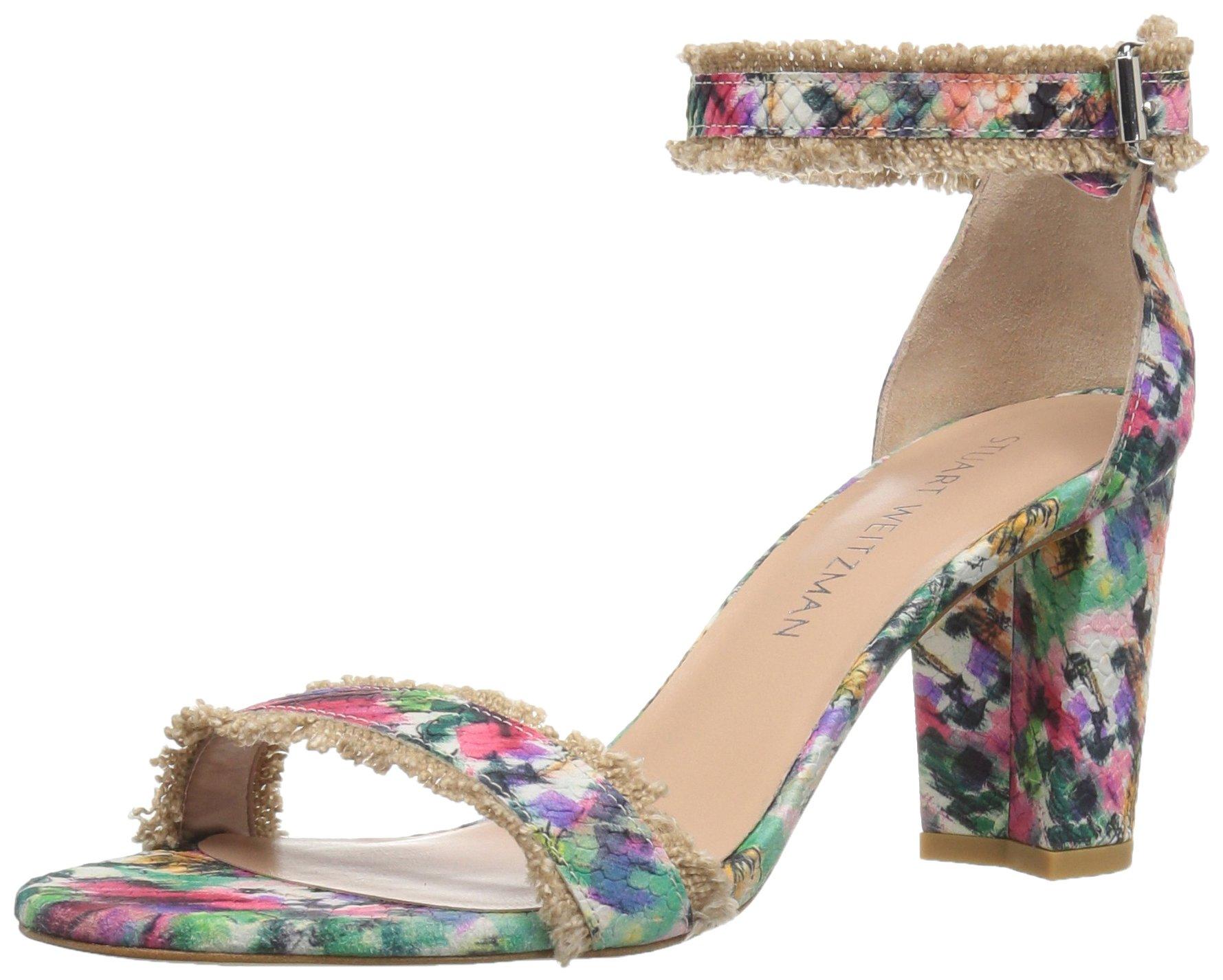 Stuart Weitzman Women's Frayed Heeled Sandal, Bright, 8.5 M US