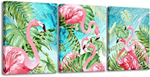 3 Piece Flamingo Wall Art Boho Decor for Bedroom,Animal Picture Palm Green Tropical Plant Canvas Prints Framed Posters Hanging Artwok for Living Room Decoration (Multicolor, 12x16inx3)