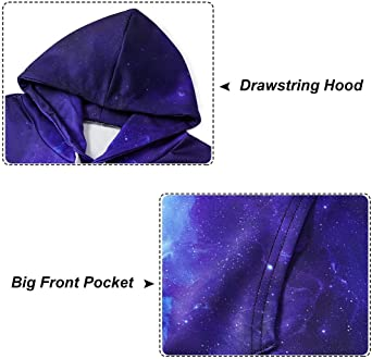 Spreadhoodie Unisex 3D Hoodie Realistisc Galaxy kot nadruk sweter z kapturem długi rękaw sweter z kieszenią S-XXL: Odzież
