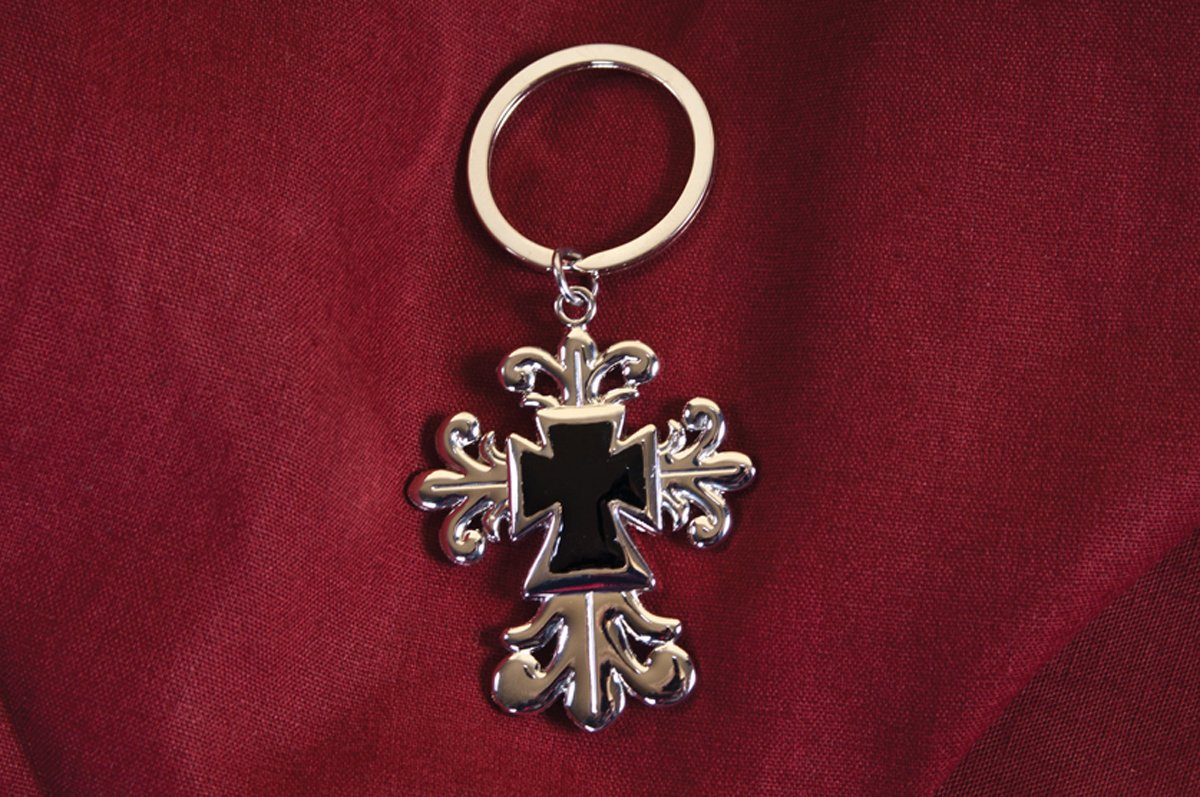 Carpentree The Faith Collection 1.75x3.75 Black Cross Keychain Multi