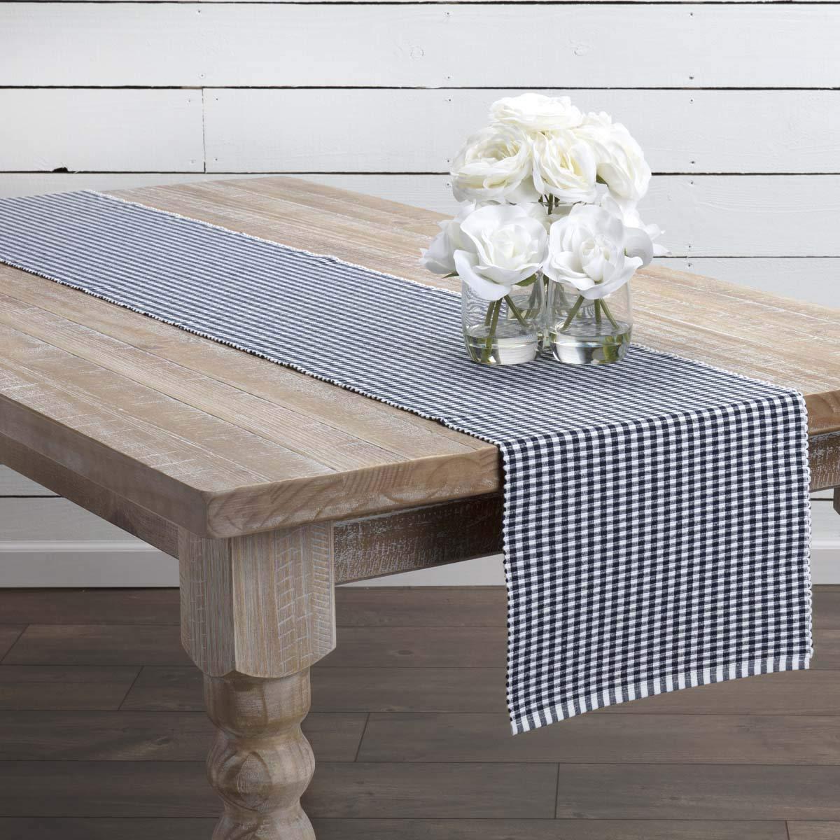 Tara Grey Ribbed Runner VHC Brands Farmhouse Tabletop /& Kitchen 13 x 72,