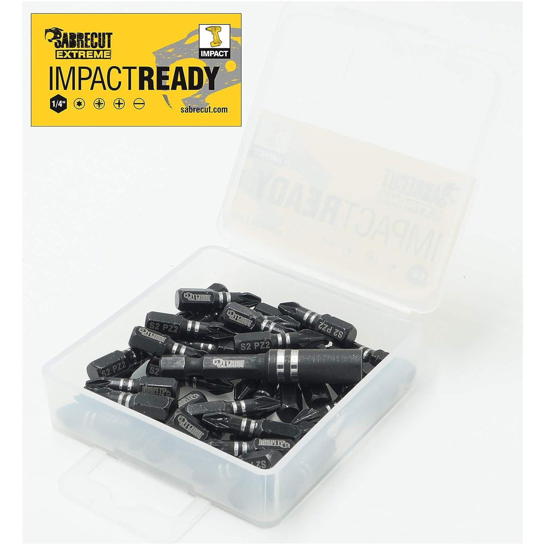 2 robust inklusive Bohreisenhalter und Aufbewahrungsbox 21 x SabreCut SCPA25/_21PH 25 mm PH2 Schraubendreher-Eins/ätze Schraubendreher-Bits f/ür Schlagschrauber einendig Phillips Nr